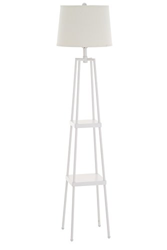 "Catalina Lighting 19305-001 Modern Metal Floor Lamp with Shelves and Beige Linen Shade for Living, Bedroom, Dorm Room, Office, 58"", Classic White"