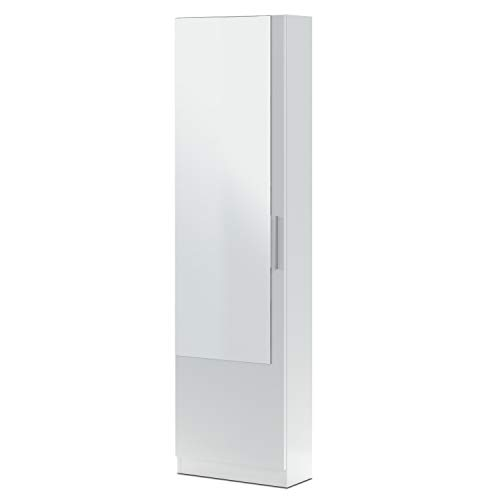 Habitdesign Armario Zapatero, Zapatero con Espejo, Modelo Kristal, Acabado en Color Blanco Artik, Medidas: 50 cm (Ancho) x 180 cm (Alto) x 22 cm (Fondo)