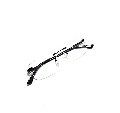 Armação Óculos Titanium Metal Sem Aro Com Lentes Sem Grau Cor:Preto