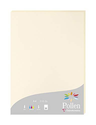 Clairefontaine 24204C Packung mit 25 Karten Pollen 210g, DIN A4, 21 x 29,7cm, Elfenbein