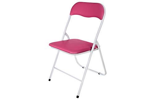 TIENDA EURASIA Silla Plegable de Aluminio con Respaldo y Asiento Acolchado en PVC Ideal para Cocina, Comedor, Salón, Dormitorio Medidas: 78x43,5x46 cm (Rosa)