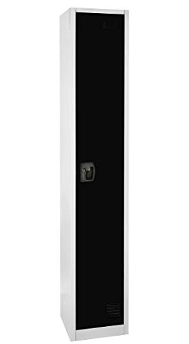 AdirOffice Large Locker 1 Door 2 Shelves and 2 Hooks Storage Locker for Garage Storage - Office Storage Lockers (Black)
