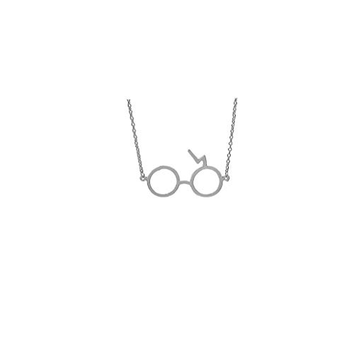 Glasses Pendant Necklace Glasses With Lightning Bolt Charm Pendant Necklace 1pc(Silver Coating)