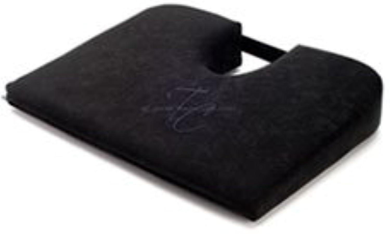 TUSH CUSH Seat Cushion - Small Home Office Car Compu Computer Ergonomic Orthopedic Chair Cushion - Black Velour Fabric