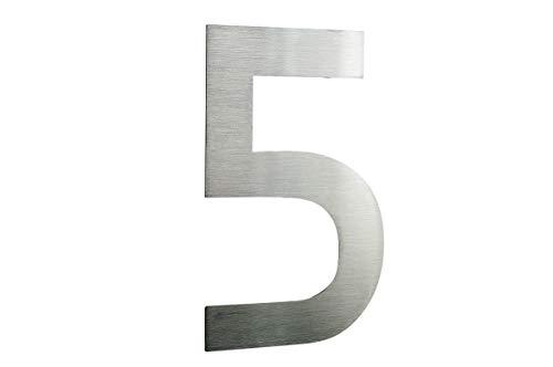 Hausnummer Edelstahl, Nummer 5, Höhe 20cm, Schriftart ist ITC-BAUHAUS in fettschrift