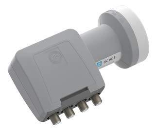 WISI Universal Quad-LNB OC 06 E in Lichtgrau mit 40mm Feeddurchmesser für bis zu 4 Teilnehmer