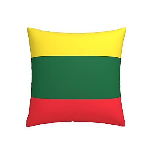 Kissenbezug mit Flagge von Litauen, quadratisch, dekorativer Kissenbezug für Sofa, Couch, Zuhause, Schlafzimmer, drinnen & draußen, niedlicher Kissenbezug 45,7 x 45,7 cm