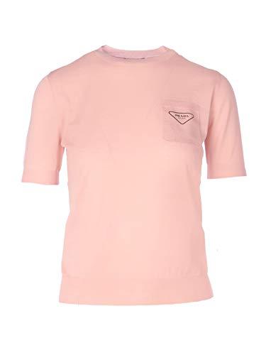 Luxury Fashion | Prada Dames P24V0LS2011V9PF0442 Roze Wol T-shirts | Lente-zomer 20