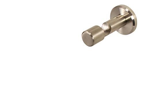 iso-design Edelstahl Wandhalter Deckenhalter mit Schraubkappe für 16 mm Gardinenstangen 4,5 cm