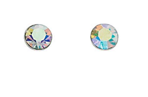 Beginnings 925 Sterling Silver Rainbow AB Crystal by Swarovski Round Stud Earrings