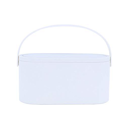 NBLYW Make-up tas met afneembare spiegel en LED-lampen, opbergdoos voor cosmetica-organizer met handgreep, draagbaar, opbergdoos voor make-up