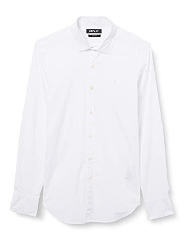 REPLAY M4028 Camisa, 001 White, M para Hombre