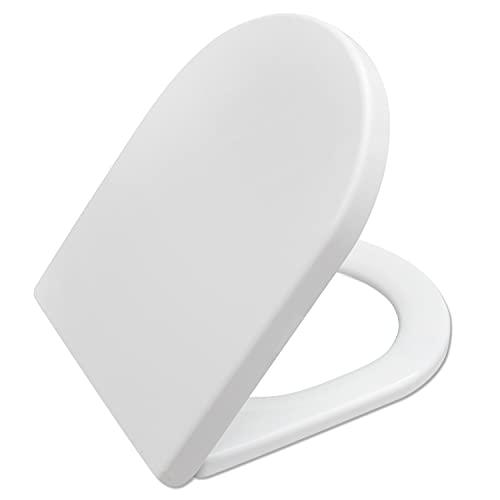 Asiento de inodoro con cierre suave con cierre rápido y fijación superior, forma de D, color blanco