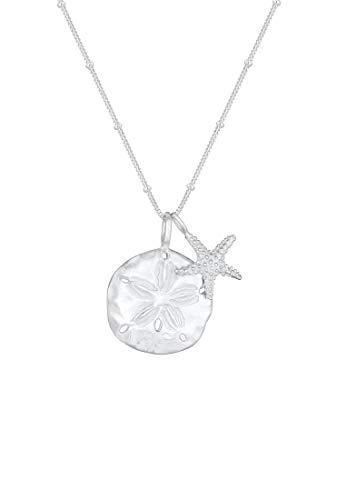Elli Halskette Damen mit Seestern und Blumen Plättchen Summer-Vibes in 925 Sterling Silber 45 cm Länge