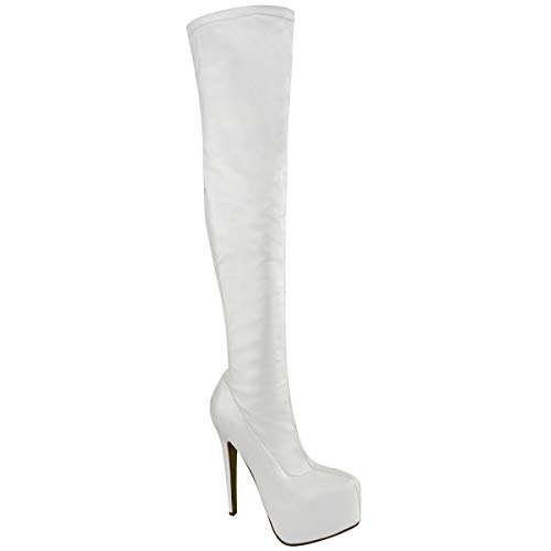 Fashion Thirsty Womens Mens Unisex Over Knee Thigh High Heel Stretch Faux Leather Suede Boots Shoes Size 9