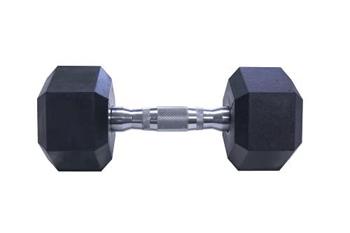 Mancuernas hexagonales ergonómicas con empuñadura de Cromo y Revestimiento de Caucho. 5kg / 7.5kg / 10kg / 12,5kg / 15kg (5KG)