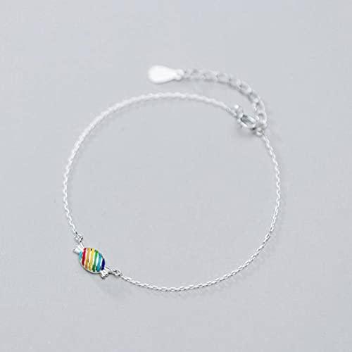 BEWITCHYU Pulsera de Plata S925, Pulsera de Estudiante de Estilo Colgante de Caramelo de Arco Iris para Mujerpulsera de plata s925
