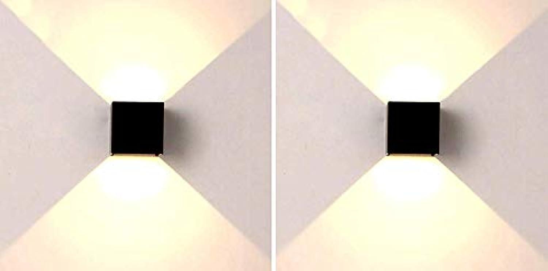 ● .Wandlampe Innenmoderne Wandleuchten LED Up Down 6W Weies Licht Quadrat Frosted Wandleuchte Für Flur Wohnzimmer Schlafzimmer Garten Treppen Studio Shop Cafe Bar [Energieklasse A +], 2schwarz3000k ●