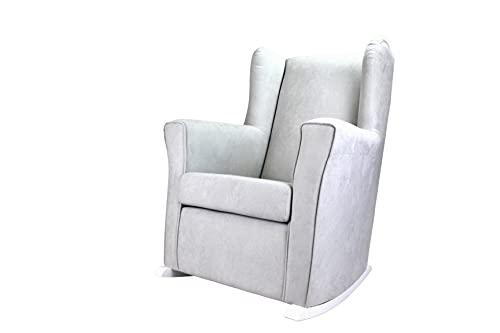 Sillón de Lactancia Alba con Balancín Blanco, Orejero tapizado tela Antimanchas, Mecedora para Salón o Habitación de Bebe (Marron)
