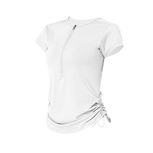 Camiseta Deportiva de Manga Corta con cordón con Cremallera, Tops de Yoga para Mujer, Ropa Deportiva para Correr de Secado rápido de Color sólido para Mujer
