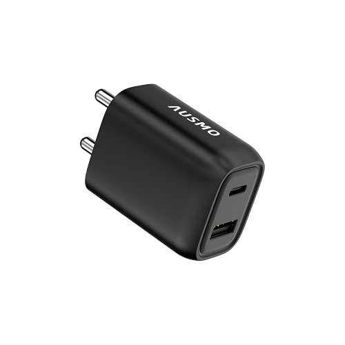 Ausmo 32W Wall Charger Xtra Charge PD USB C Plug, Dual Port Power Adapter for Apple iPhone, iPad, Samsung and More (Desert Black)
