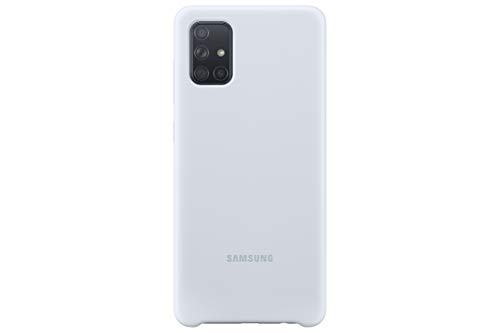 Samsung Silicone Smartphone Cover EF-PA715 für Galaxy A71 Handy-Hülle, Silikon, Schutz Hülle, stoßfest, dünn & griffig, silber