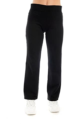 Ex Marks & Spencer Pantalones para mujer deportivos de algodón, pierna recta negro M 48
