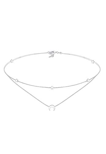 Elli Halskette Damen Layer Choker Astro Halbmond Sterne in 925 Sterling Silber