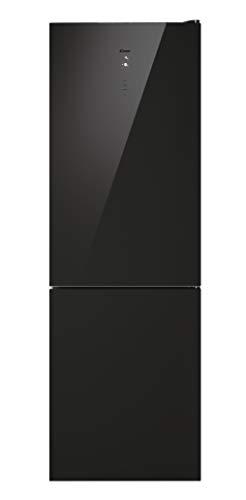 Candy Puro CMGN 6184BN - Frigorifero in vetro nero, combi no frost, motore inverter, 317L, illuminazione LED, portabottiglie, 41dBA, classe E, vetro nero