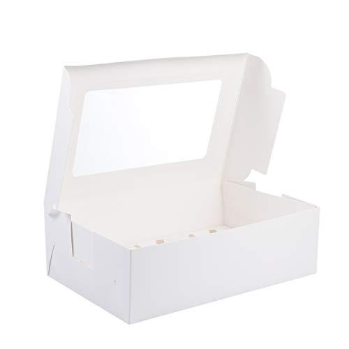 NUOBESTY 20 Cajas de Papel Blanco para Cupcakes Soporte para Muffins Caja para Cupcakes Caja Contenedor de Almacenamiento con Ventana Cajas de Postre Cajas de Embalaje para El Hogar (6