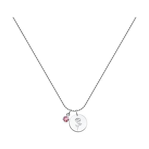 Mirkada - Collar de plata para mujer con cristales Swarovski 'June', rosa, 50/55 cm