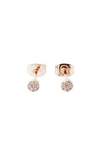 HONEYCAT Tiny Crystal Circle Stud Earrings in 18k Rose Gold Plate | Minimalist, Delicate Jewelry (Rose Gold)