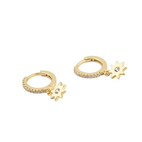XIANNVQB S925 Pendientes, Diamante-Tachonado Simple Espárragos Pendientes De Ocho Puntas Estrella En Forma De Gota para Los Oídos Joyas Encanto Chicas Regalo, Oro, Una Talla