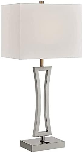 Lámparas con acabado de níquel de 28 ', lámpara de mesa de noche para dormitorio moderno, lámpara de mesa USB con puerto de carga, sala de estar, luz de lectura para mesita de noche, accesorio de ilum