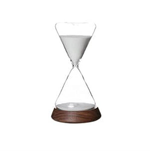 WSJQWHW Hourglass, 30-minute Timer Hourglass, Holiday Decorations, Glass Hourglass, Wooden Base, Can Be Used for Desks, Study Decorations (Color : Walnut Base)