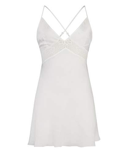HUNKEMÖLLER Damen Kurzes Slipdress Nina aus Satin Weiß XL