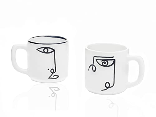 SOLTAKO handbemalte Kaffeetassen Becher 2er Set - Keramik Tasse groß – hochwertige Kaffeebecher Set -Teetassen Set Modern -Kunstobjekte inspiriert von Picasso Portraitskizzen
