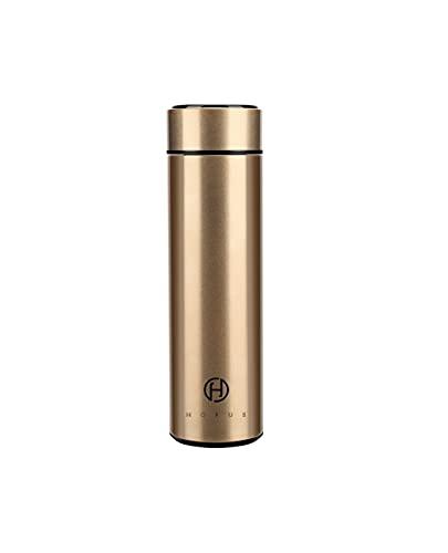 Horus - Cantimplora térmica de acero inoxidable, 500 ml, tapa de temperatura LED, termo de café y té de acero inoxidable, sin BPA, 24 horas frío y 12 calientes, botella para oficina, viajes (dorado)