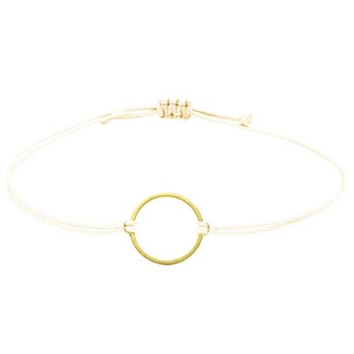 Kreis Armband Gold - Beige Selfmade Jewelry ® Makrameearmband für Damen Mädchen Frauen Größenverstellbares Armkettchen handmade