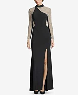 XSCAPE Womens Black Gown Color Block Embellished Illusion Long Sleeve Turtle Neck Full-Length Evening Dress US Size: 4