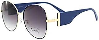 نظارة شمسية موديل 95691-C2 بعدسات مستقطبة وحماية من الاشعة فوق البنفسجية واطار بتصميم بيضوي مع صندوق هدية، للنساء.