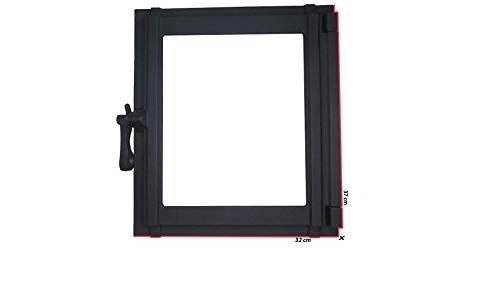 sellon Puerta de horno de hierro fundido con cristal, 32 x 37 cm, puerta de azulejos, puerta de horno, color negro