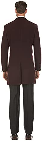 English Laundry Men's Wool Blend Breasted Solid Burgundy 3/4 Length Top Coat (38 Short)