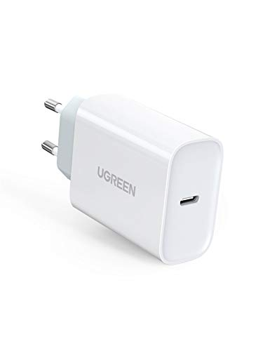 "UGREEN Cargador USB C 30W, Cargador Carga Rapida Power Delivery 3.0, Cargador Pared USB C Quick Charge QC 3.0 para Xiaomi Mi 9 Redmi Note 8 iPhone 9 11 XS XR 8 iPad Pro 2020 Macbook 12"" Samsung S20"