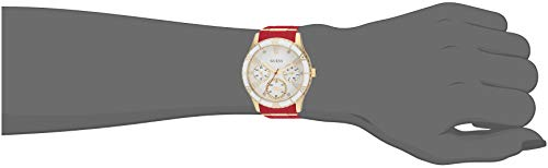GUESS Gold-Tone + Iconic Red Stain Resistant Silicone Watch with Day, Date + 24 Hour Military/Int'l Time. Color: Red (Model: U1157L2)