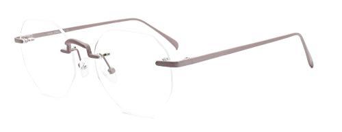 MOSTAR Spezielles Design Sechseck Brille Kristall Linse Creme rosa randlose Brille für Mädchen Dame