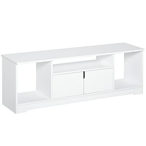 """HOMCOM Mueble de TV para Televisor de hasta 42"""" Mesa de Salón Moderna con Armario de Doble Puerta y 3 Compartimentos Abiertos 120x30x41cm Blanco"""