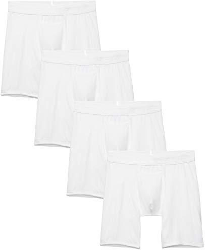 Tommy John Men's Cotton Basics Boxer Brief - 4 Pack - Comfortable Lightweight Soft Underwear for Men (White, Medium)