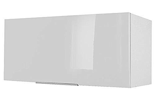 Berlioz Creations - Mueble Alto de Cocina sobre Campana extractora, Otros, Blanco Muy Brillante, 80 x 34 x 35 cm