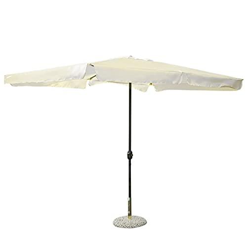 Mediawave Store - Sombrilla cuadrada con poste central de 3 x 2 cm de diámetro, color crudo, para decoración de jardín, terraza, borde de piscina, parasol de sombra Imperia
